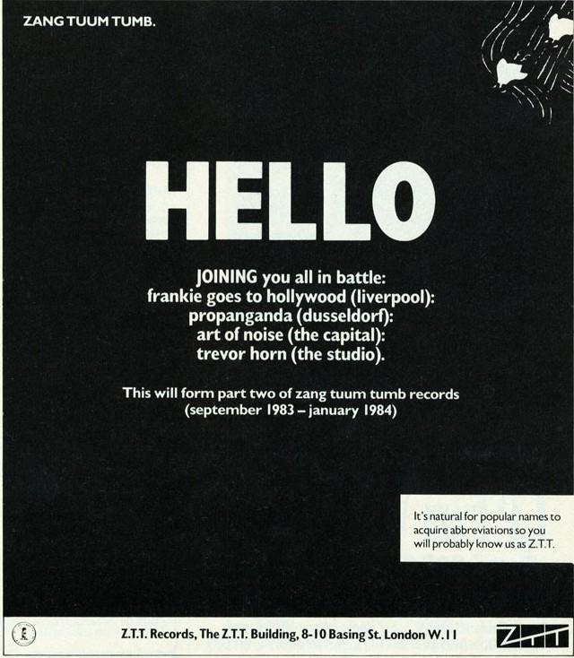 ZTT 'Hello' Music Week ad, 01.10.83