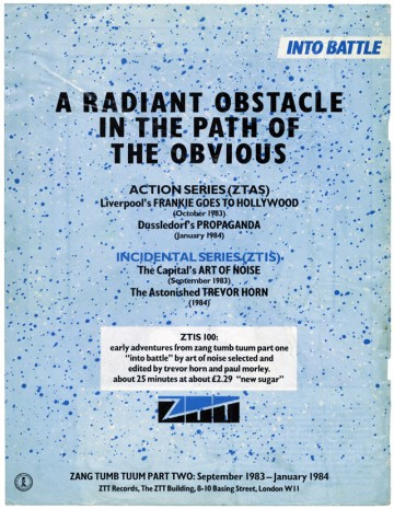 ZTT 'A Radiant Obstacle...' advert, Blltz 12/83