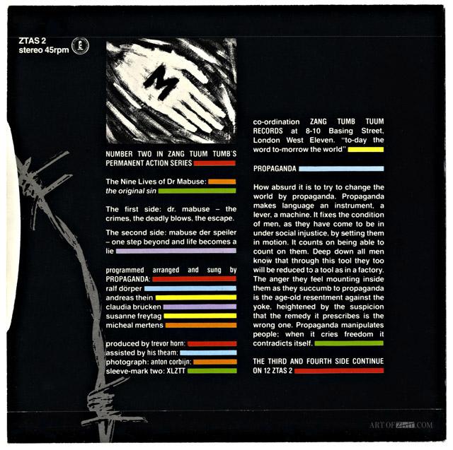 Propaganda Dr Mabuse 7″ zeppelin back cover