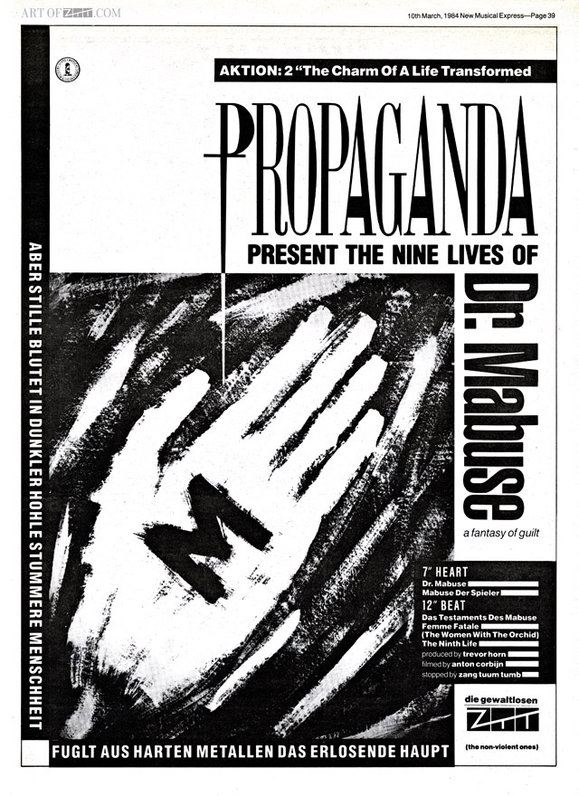 Propaganda Dr Mabuse advert NME 10.03.84