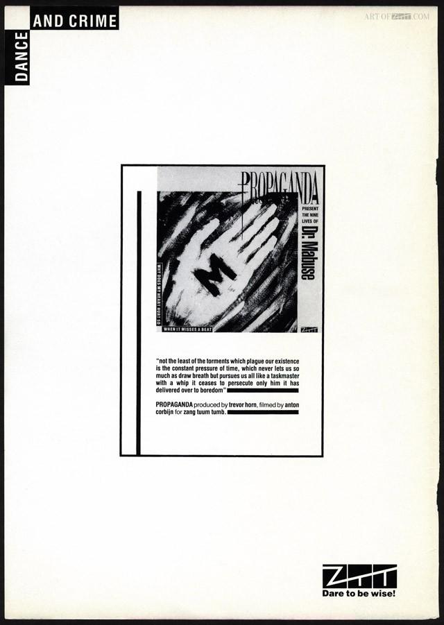 Propaganda 'Dr Mabuse' Zig Zag advert 03.84