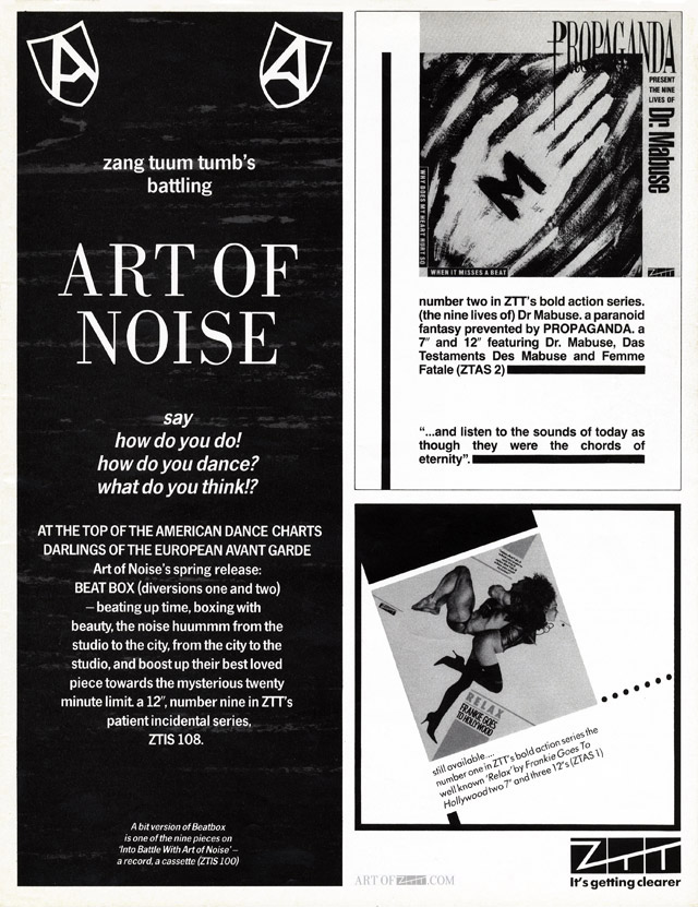 Art of Noise, Propaganda, Frankie Goes To Hollywood ZTT advert Blitz 03.84