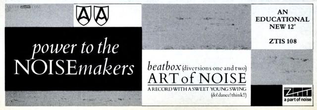 Art Of Noise 'Beatbox' Record Mirror advert 31.03.84