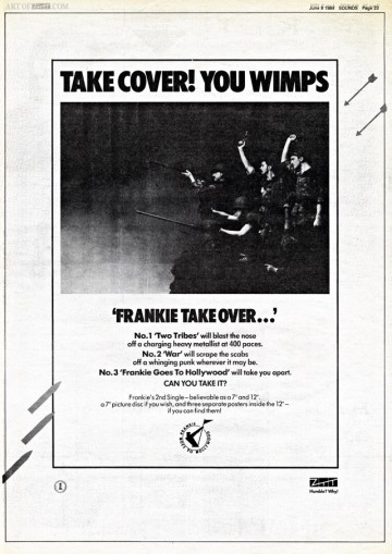 Frankie Goes To Hollywood 'Two Tribes' advert Sounds 09.06.84