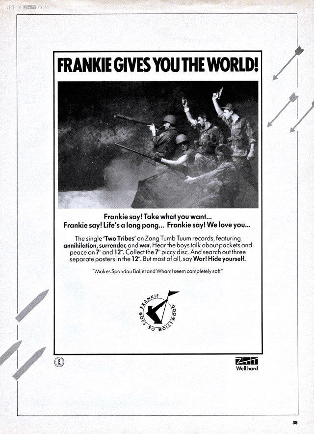 Frankie Gives You The World - 'Two Tribes' advert No.1 magazine 16.06.84