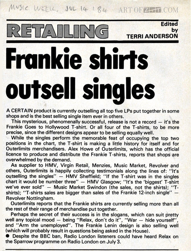 Frankie T-shirts outsell singles