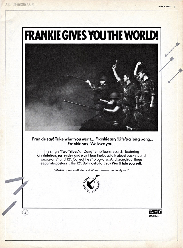 Frankie Gives You The World! - a 'Two Tribes' Record Mirror advert 09.06.84