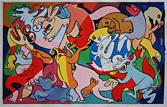 Lo Cole animal orgy prelim colour