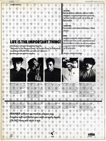 Welcome To The Pleasuredome Melody Maker advert 03.11.84
