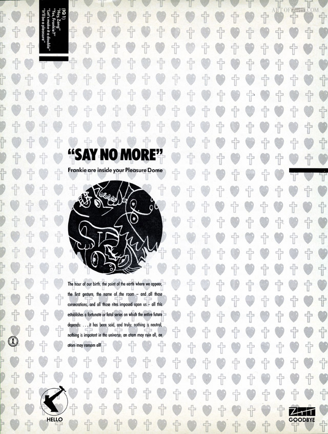 Welcome To The Pleasuredome The Face advert 11.84