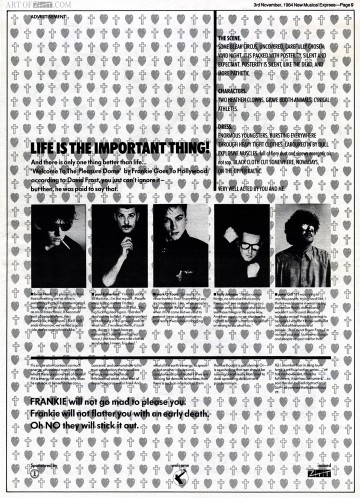 Welcome To The Pleasuredome NME advert 03.11.84